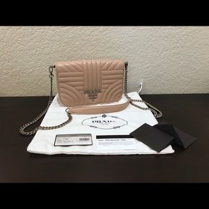 Prada Diagramme Nappa Leather Shoulder Bag